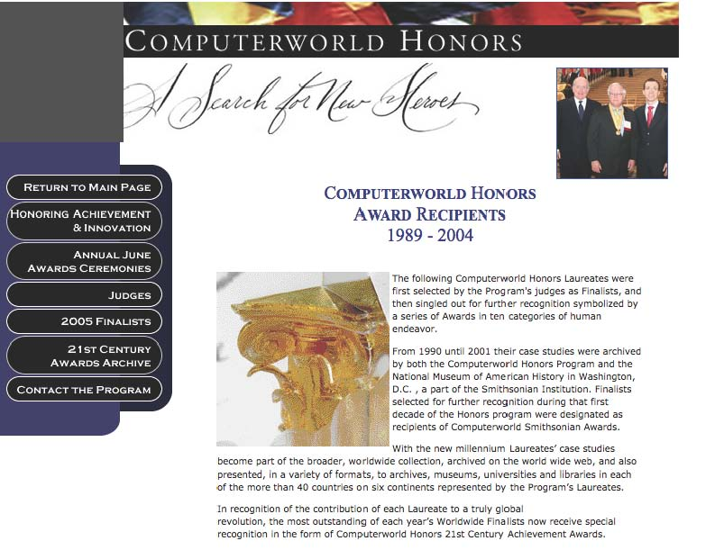Computerworld Awards screenshot